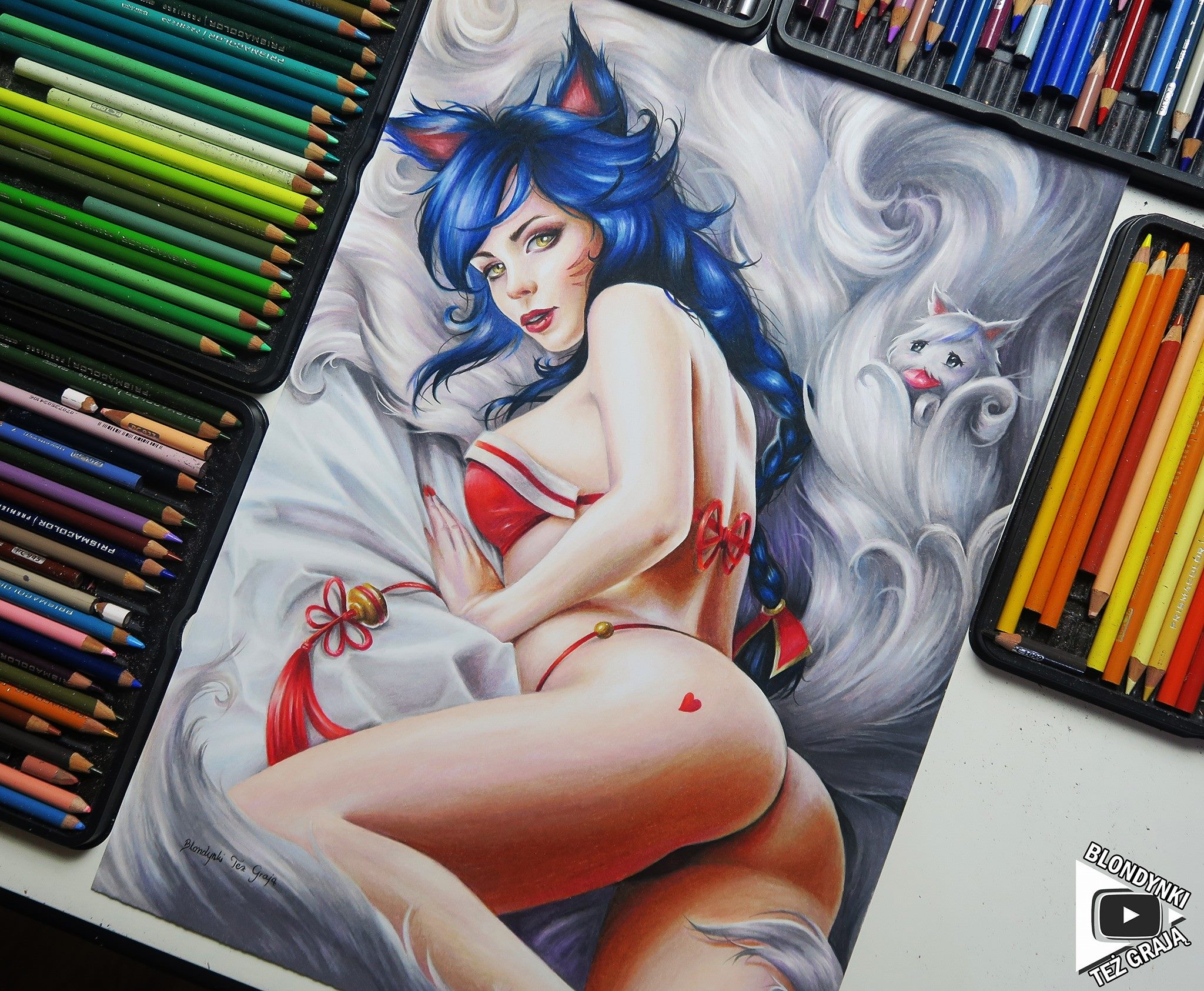 Ahri drawing by Blondynki Też Grają - League of Legends art