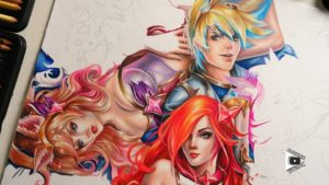Star Guardian Ezreal, Ahri, Miss Fortune, Lux drawing by Blondynki Też Grają - League of Legends art