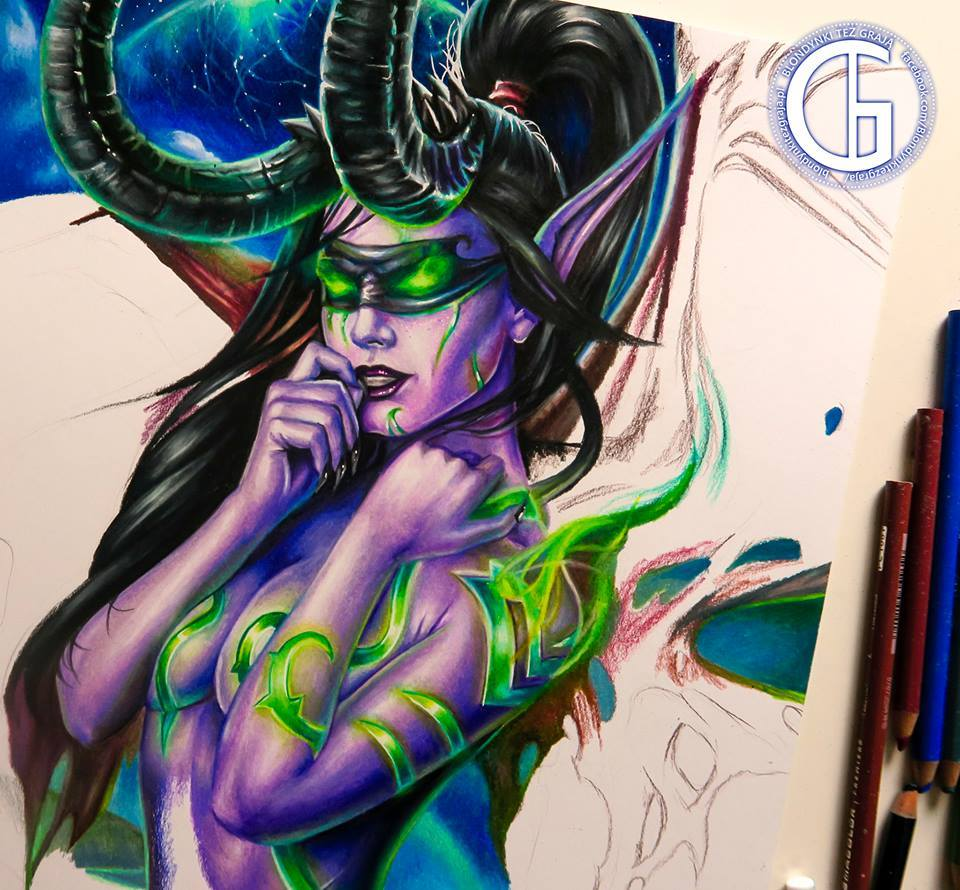Illidan drawing by Blondynki Też Grają - World of Warcraft art