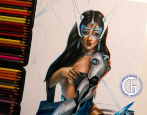 Symmetra drawing by Blondynki Też Grają - League of Legends art