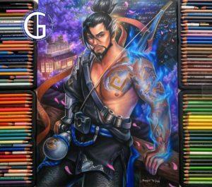 Hanzo drawing by Blondynki Też Grają - Overwatch art