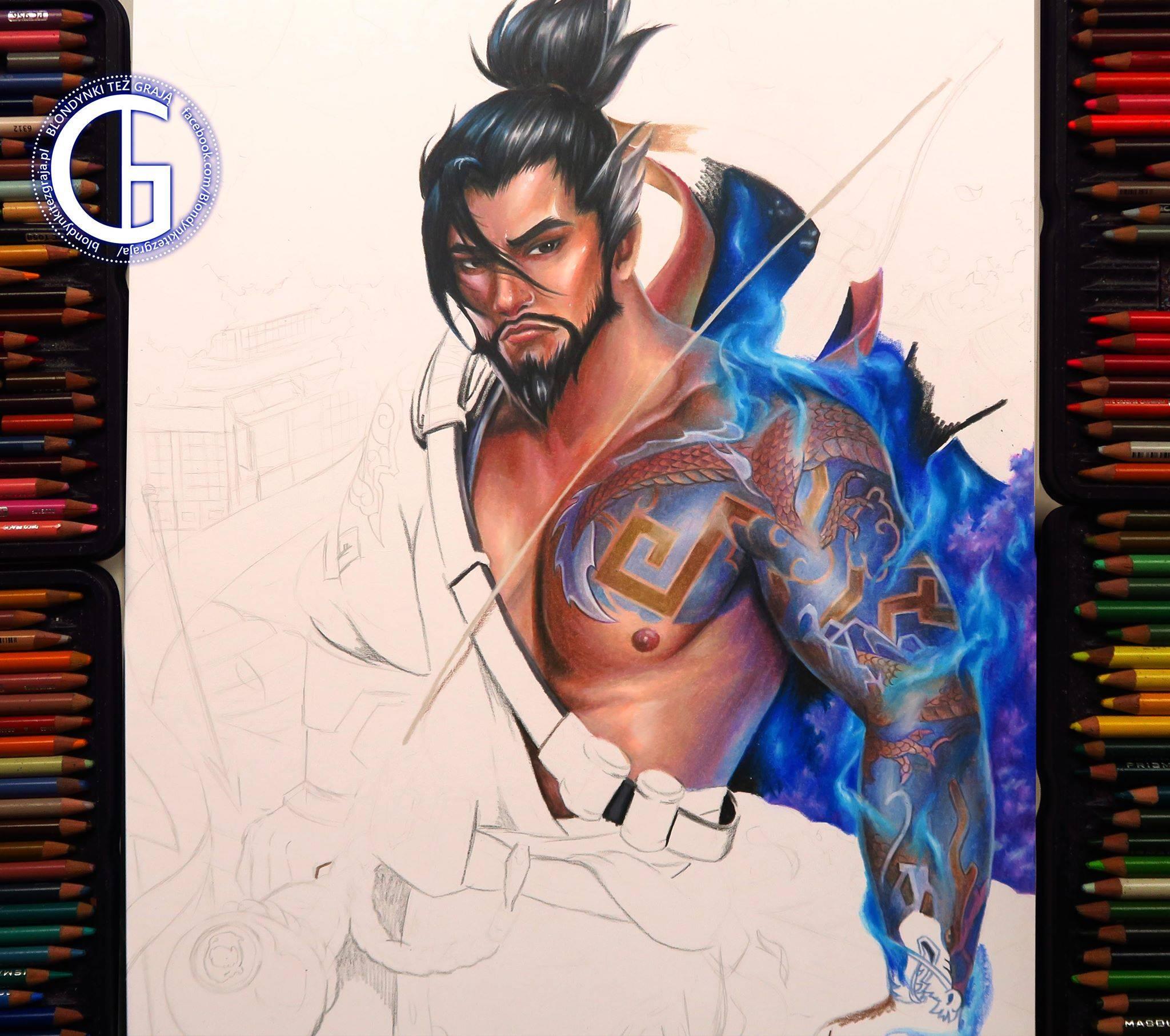 Hanzo drawing wip by Blondynki Też Grają - Overwatch art