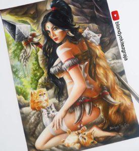 Nidalee drawing by Blondynki Też Grają - League of Legends art