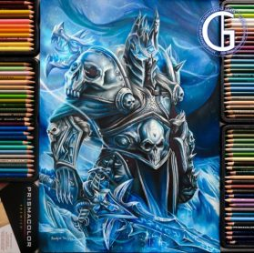 Lich King World of Warcraft drawing by Blondynki Też Grają