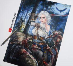 Ciri vs Wolves drawing by Blondynki Też Grają - Witcher 3 art