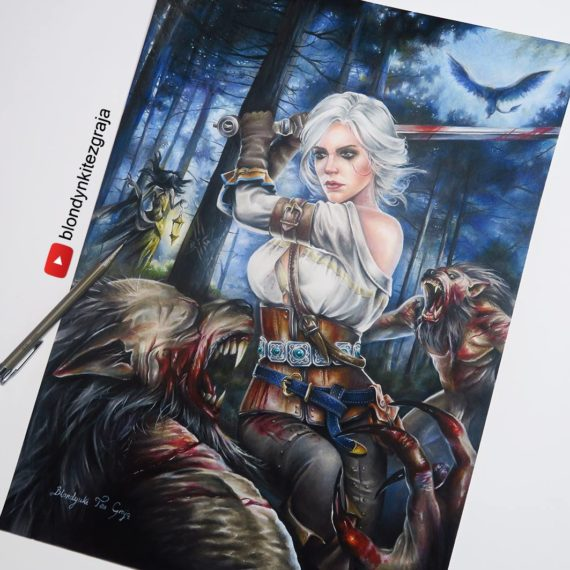 Ciri vs Wolves drawing by Blondynki Też Grają - Witcher 3 art