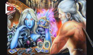 Sylvanas vs Geralt drawing by Blondynki Też Graja - Hearthstone vs Gwent art