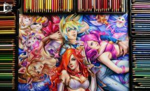 Star Guardian Ezreal, Ahri, Miss Fortune, Lux drawing by Blondynki Też Grają - League of Legends art